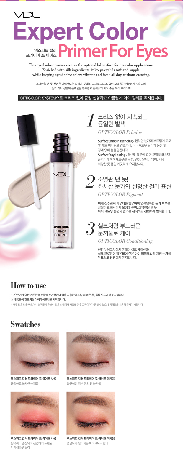 On top of clean eyes, use finger or tip to apply small amount, tap