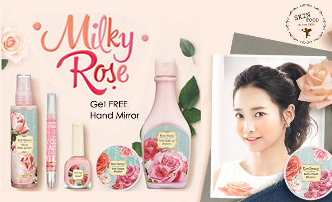 skinfood milky rose hand mirror cosmetic-love korean cosmetics beauty